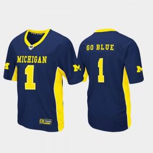 University of Michigan #1 Mens Jersey Navy University Max Power Football 452198-988