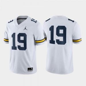 Michigan #19 Mens Jersey White College Game 621533-940