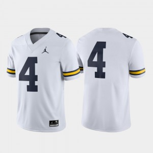 Wolverines #4 Mens Jersey White Alumni Game College Football 653963-466