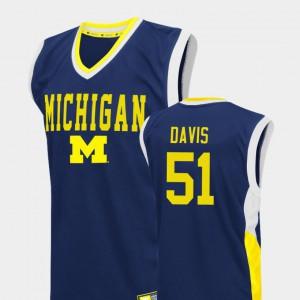 U of M #51 Mens Austin Davis Jersey Blue College Fadeaway College Basketball 888993-438