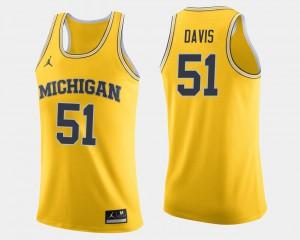 U of M #51 For Men Austin Davis Jersey Maize Stitch College Basketball 902991-589