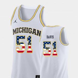 Michigan #51 Men's Austin Davis Jersey White Stitch USA Flag College Basketball 994455-533