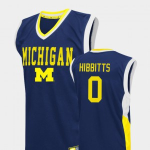 Michigan #0 For Men's Brent Hibbitts Jersey Blue Player College Basketball Fadeaway 149008-982