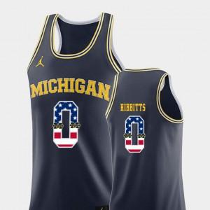 U of M #0 Men Brent Hibbitts Jersey Navy Alumni USA Flag College Basketball 822878-422