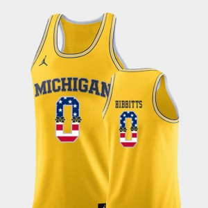 Michigan #0 Mens Brent Hibbitts Jersey Yellow NCAA College Basketball USA Flag 612529-761