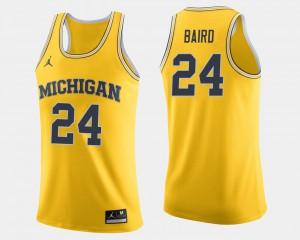 Michigan Wolverines #24 Mens C.J. Baird Jersey Maize College Basketball NCAA 466874-798