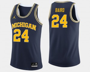Michigan #24 Mens C.J. Baird Jersey Navy Official College Basketball 177246-715