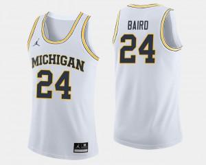 Wolverines #24 Men's C.J. Baird Jersey White College Basketball High School 292025-605