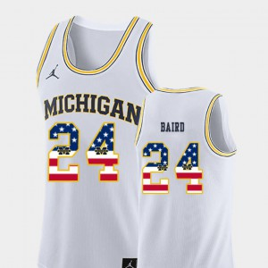U of M #24 For Men's C.J. Baird Jersey White College Basketball USA Flag NCAA 241070-895