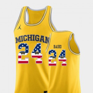 Wolverines #24 For Men's C.J. Baird Jersey Yellow NCAA USA Flag College Basketball 891752-961