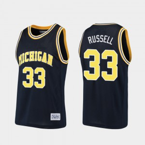U of M #33 For Men Cazzie Russell Jersey Navy Embroidery Alumni Basketball 610805-785