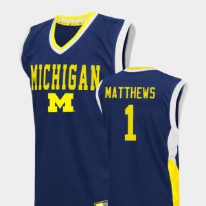 Wolverines #1 Men's Charles Matthews Jersey Blue College Basketball Fadeaway Official 299175-538