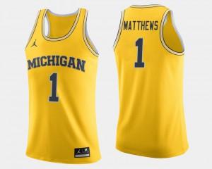 Michigan Wolverines #1 Men Charles Matthews Jersey Maize Stitched College Basketball 337960-574