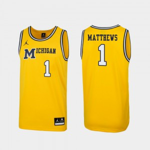 University of Michigan #1 Men Charles Matthews Jersey Maize Stitched 1989 Throwback College Basketball Replica 260072-365