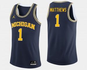 Michigan #1 For Men Charles Matthews Jersey Navy College Basketball Stitched 554472-161