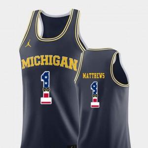 Michigan #1 Men's Charles Matthews Jersey Navy College Basketball USA Flag Embroidery 882678-411