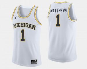 Michigan #1 Men's Charles Matthews Jersey White Official College Basketball 691383-579