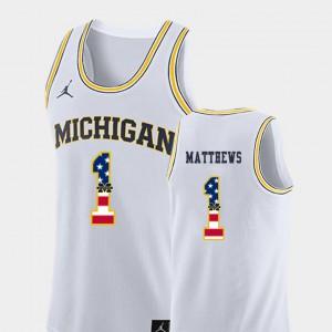 University of Michigan #1 For Men Charles Matthews Jersey White College Basketball USA Flag High School 463860-599
