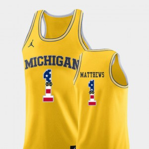 Michigan Wolverines #1 For Men's Charles Matthews Jersey Yellow College Basketball USA Flag Official 894694-888