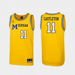 Michigan #11 Mens Colin Castleton Jersey Maize Embroidery Replica 1989 Throwback College Basketball 783022-396