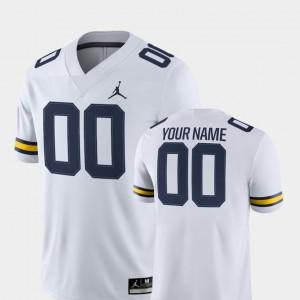 Michigan #00 Men Custom Jersey White 2018 Game College Football NCAA 872737-150