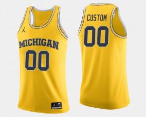 Michigan #00 Men's Customized Jerseys Maize College Basketball Stitch 763598-149