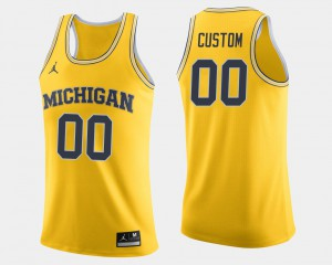 Michigan #00 For Men's Custom Jersey Maize College College Basketball 568934-386