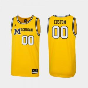 Michigan For Men Custom Jersey Maize Stitch Replica #00 1989 Throwback College Basketball 763325-447