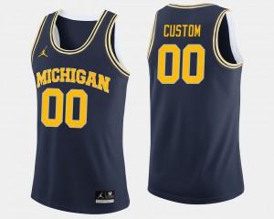 U of M #00 Mens Custom Jerseys Navy Player College Basketball 622958-703