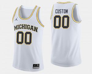 Michigan #00 Men Custom Jersey White High School College Basketball 406521-305