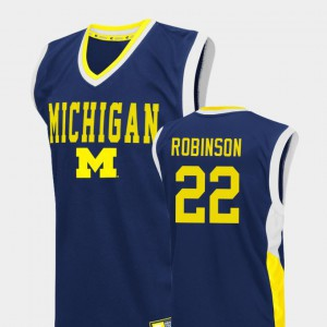 University of Michigan #22 For Men Duncan Robinson Jersey Blue Stitched Fadeaway College Basketball 307241-838