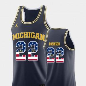U of M #22 Mens Duncan Robinson Jersey Navy Stitch USA Flag College Basketball 413318-488