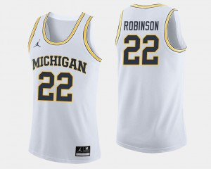 Michigan Wolverines #22 For Men Duncan Robinson Jersey White Player College Basketball 844463-308