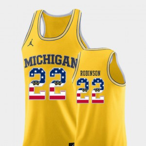 U of M #22 For Men's Duncan Robinson Jersey Yellow University College Basketball USA Flag 995890-639