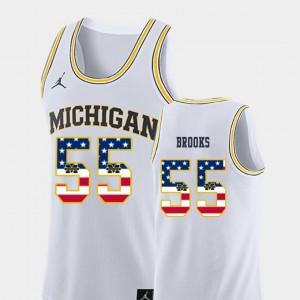Michigan #55 Men's Eli Brooks Jersey White Player USA Flag College Basketball 444247-522