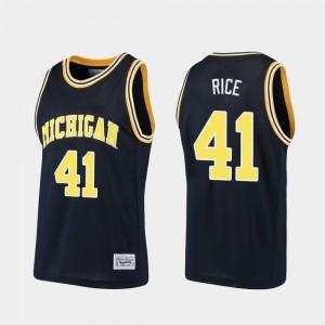 U of M #41 Men Glen Rice Jersey Navy University Alumni Basketball 142210-321