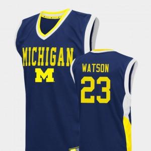 Michigan #23 For Men's Ibi Watson Jersey Blue College Basketball Fadeaway Alumni 620905-648