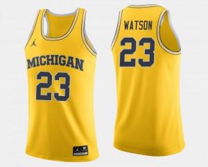 U of M #23 Mens Ibi Watson Jersey Maize Stitched College Basketball 546889-483
