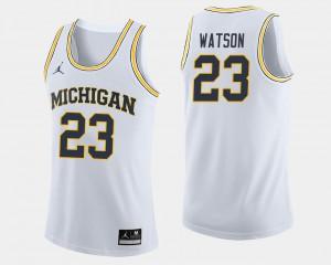 University of Michigan #23 Mens Ibi Watson Jersey White Embroidery College Basketball 491006-303