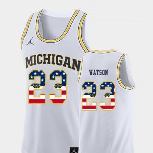 Michigan #23 Men Ibi Watson Jersey White Stitched College Basketball USA Flag 796552-552