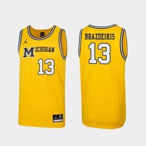 Michigan #13 Men's Ignas Brazdeikis Jersey Maize Alumni 1989 Throwback College Basketball Replica 768220-973