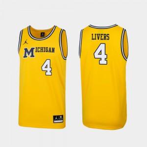 Michigan #4 Men's Isaiah Livers Jersey Maize NCAA 1989 Throwback College Basketball Replica 988570-714