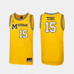 Michigan #15 For Men Jon Teske Jersey Maize Official 1989 Throwback College Basketball Replica 196965-811