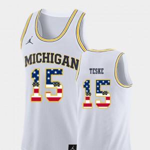 University of Michigan #15 Mens Jon Teske Jersey White College Basketball USA Flag Alumni 599391-208