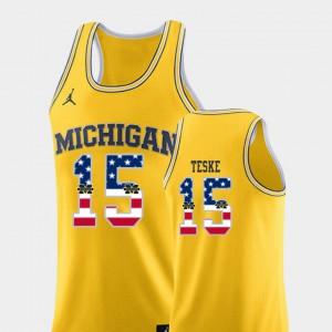 Michigan #15 Men's Jon Teske Jersey Yellow College Basketball USA Flag Alumni 604494-394