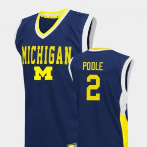 U of M #2 Men Jordan Poole Jersey Blue Stitch College Basketball Fadeaway 163485-453