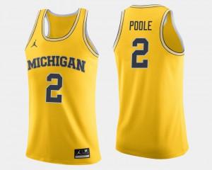 Michigan #2 Men Jordan Poole Jersey Maize High School College Basketball 977379-490