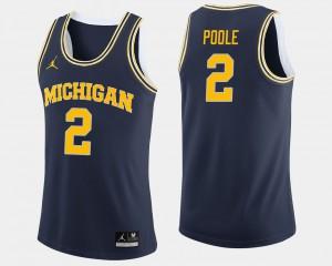 Michigan Wolverines #2 Men Jordan Poole Jersey Navy College College Basketball 841135-335