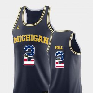University of Michigan #2 For Men's Jordan Poole Jersey Navy College Basketball USA Flag University 936077-904