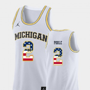 Michigan Wolverines #2 Men's Jordan Poole Jersey White Stitched USA Flag College Basketball 633724-813